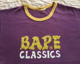 Vintage BAPE by A BATHING APE Classics Spell Out Made In Japan Ringer Tee Shirts