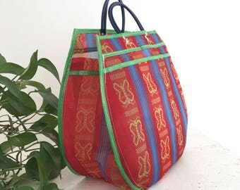 Shopping bag XXL - red/green butterflies