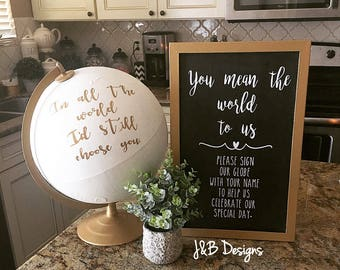 Wedding sign in book, used as globe, with matching sign, wedding, just married, wedding signs, globe