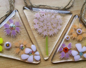 Fused glass bunting, floral glass bunting, summer glass bunting, beautiful floral glass bunting.