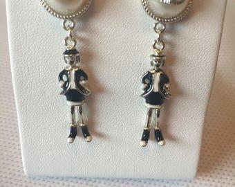 Chanel CC lady charm & Faux Pearl Dangling Earrings