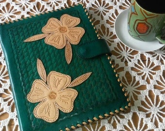 JW FLOWERS Preaching organizer Blue and Green colors. Genuine LeatherHand Tooled. Case for Tablet, Ipad and Tools for Ministries and More..