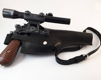 Star Wars: Black real leather holster for Blaster DL-44 - Han Solo blaster - Battlefront - cosplay - props