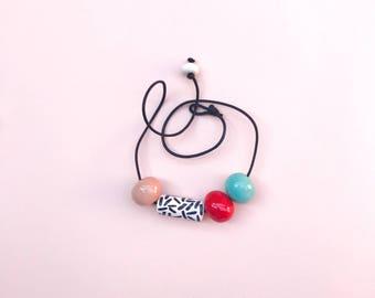 """Handmade white ceramic Necklace """"Perle""""-Susi Ceramics"""