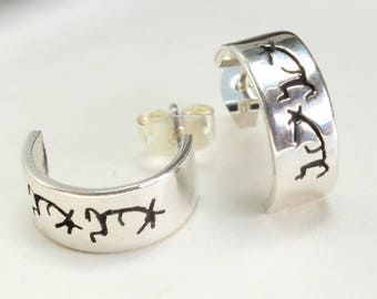 Sterling Silver Hoops Studs Kokopelli Earrings Native American Navajo Indian Small Little