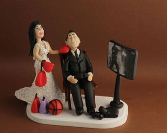 Custom wedding cake topper. Wedding keepsake. The bride and groom.  Cake topper.Cake decoration. Party Supplies. gamer, gaming. game over.