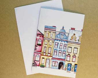 Greeting Card with envelope, Birthday Card, Housewarming Card, Street, Paper, blank