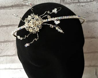 Crystal fascinator,Bridal fascinator,Bridal headband,Swarovski fascinator,Gatsby style tiara fascinator,Vintage style wedding tiara,Crystals