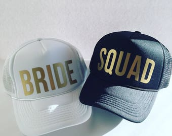 Bride - Squad - Snapback - Trucker Hat - Bachelorette Party Hat - Honeymoon Hat - Bride Hat - White Hat - Beach Hat