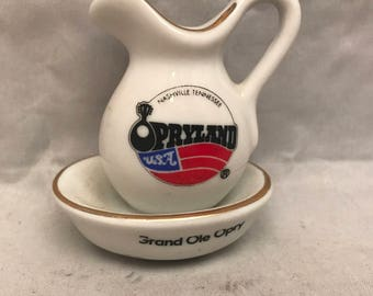 "Vintage Opryland USA Nashville Tennessee Small Souvenir Pitcher Grand Ole Opry - 3"" Tall"