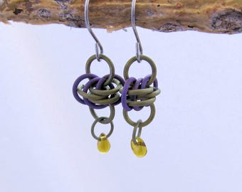Titanium Chainmail Earrings--Green and Purple