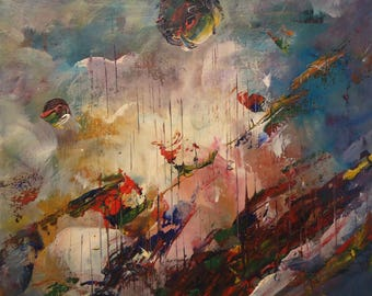 Outer space oil painting by Naci Caba