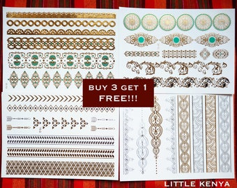 Metallic Body Tattoos - Temporary Tattoos - Tribal Tattoos - Body Jewellery Jewelry - African - Festival tattoos - Henna - Gold - Silver