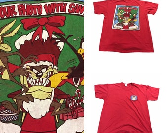 """Looney tunes Taz Christmas  """"Your photo with Santa"""" Size (Large)"""