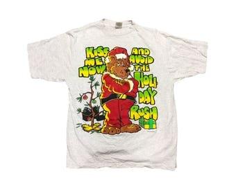 Vintage Christmas Bear T Shirt Size (XL)