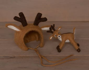 Needl felted newborn deer set