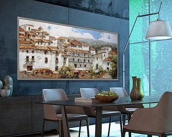 """Italy Landscape 27x71""""/70x180cm White Village in South Italy"""