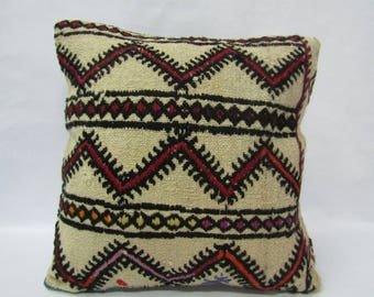 Kilim Pillow Cover,16x16 inches,40x40cm,Boho Kilim Pillow Cover,Turkish Handmade Kilim Pillow Cover