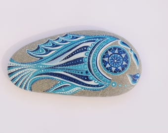 Perfect Gift - Hand Painted Fish Mandala on Mediterranean Sea Pebble. Personalized Message?