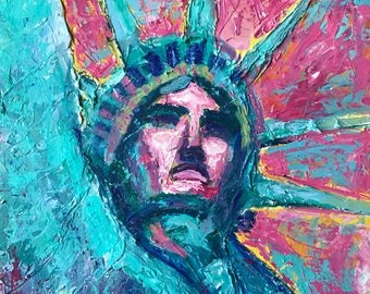 """Statue of Liberty original painting 18""""x20"""" on canvas board"""