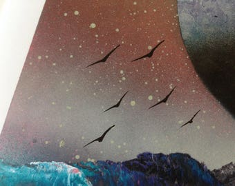 Ice Planets Spray Paint Art