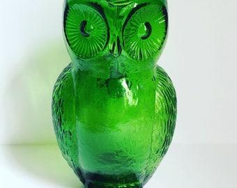Kanawha Glass Green Owl Pitcher // Green Owl Glass Pitcher // 1960's