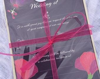 Tropical Flowers Luxury pack of 10 Wedding Invitations
