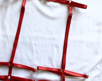 Leg Cage Garter, red garter, suspender, Body harness white, garter belt, Fetish harness, BDSM Harness, Waist to thigh harness, bodycage harn