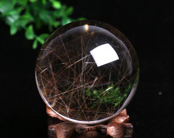Rare Natural Rutilated Quartz Crystal Sphere,Golden Hair Included Quartz Ball,Crystal Healing   458