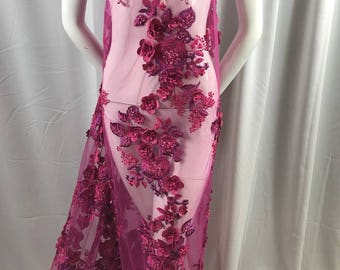 Bridal Fabric - Fushia Lace 3D Flower-Floral Embroidered Mesh Beaded By The Yard