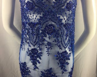 Royal Blue Embroidered Beaded Fabric - Lace Heavy Beads For Bridal Veil Flower-Floral Mesh Dress Top Wedding Decoration By The Yard