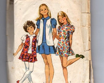 Simplicity 9794 size 8 1971 Girls Mini Dress with flared skirt,collar,short set in sleeves and Vest  vintage sewing pattern cut and unfolded