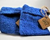 blue soap cozy, soap sack, soap scrubbie, handsewn bag, handmade cozy