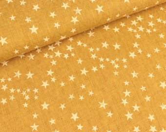 Woven lace star white on mustard yellow (7,90 EUR / meter)
