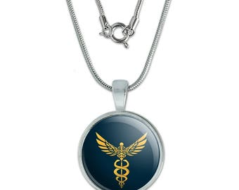 """Caduceus Medical Symbol Doctor Nurse EMT 0.75"""" Pendant with Sterling Silver Plated Chain"""