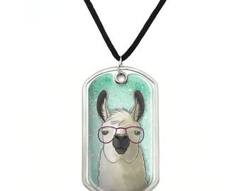 Hip Llama with Glasses Military Dog Tag Pendant Necklace with Cord