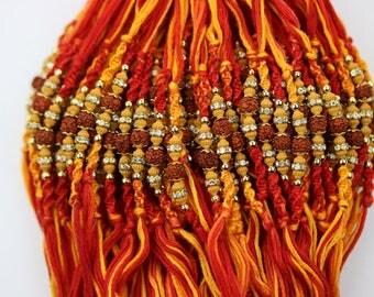 6 Rakhi - Rakshabandhan Rakhi Wristband- Rudraksha Rakhi Wristband - brother Rakhi - Rakhi Wristband threads - set of 6 Rakhi