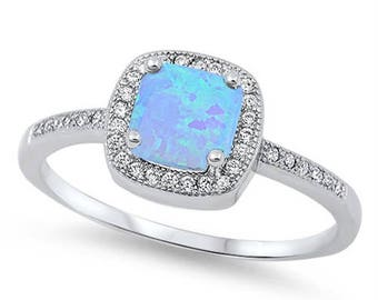Opal Ring-Blue Opal Ring-Opal sterling Silver ring-Promise Ring-Engagement ring-Girlfriend gift-Birthday gift- Halo ring-CZ Opal Ring