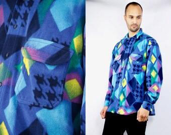 FILA Shirt / Fila Vintage Shirt / 80s Fila Shirt / Button Up Shirt / Button Down Shirt / Fila / Fila Shirt Men / Nonwoven Shirt / Fleece