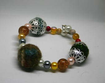 Green/Yellow Feltball and Bead Bracelet