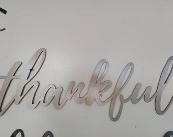 Thankful metal sign, art