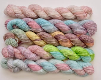 Set of five 20g mini skeins on merino and bamboo blend 4ply knitting wool yarn in soft pastel colours