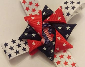 Red White and Blue Stars Hair Bow