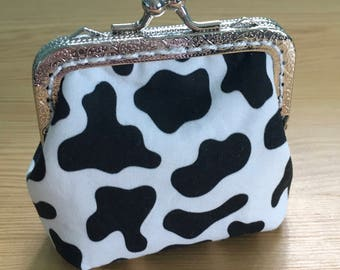 Cow Spot Print Coin Purse with Clasp, Great Gift!