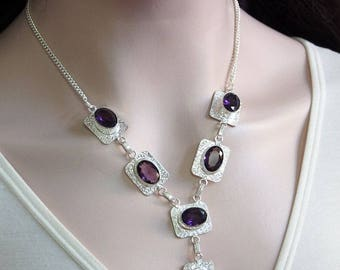 """Natural Amethyst Necklace,Purple Gemstone Jewelry,925 Sterling Silver,Birthday Party Gift 19 1/4"""" X1017"""