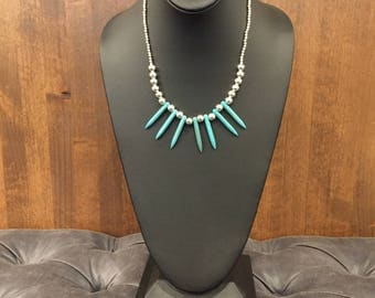 Howlite & Steel Spike Necklace