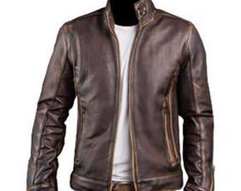 Leather Jacket - Men's Cafe Racer Stylish Biker Brown Distressed Cowhide Leather Jacket