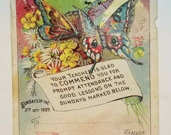 1899 Bible Card: Little Pilgrim Lesson Pictures Sunday School Attendance Report Third Quarter- September 24, 1899.