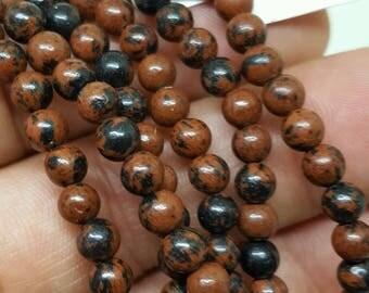 Mahogany Obsidian Mini Bead Bracelet
