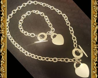 Sale!!! Women's Tiffany Inspired .925 Sterling Heart Toggle Necklace & Bracelet Set